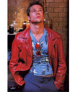 Fight Club Tyler Durden (Brad Pitt) Red Real Leather Jacket/Coat - $159.99