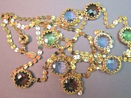 "Robert Verdi Bezel Set Crystal Necklace Gold Plated Links 46"" Cushion Desiger image 6"