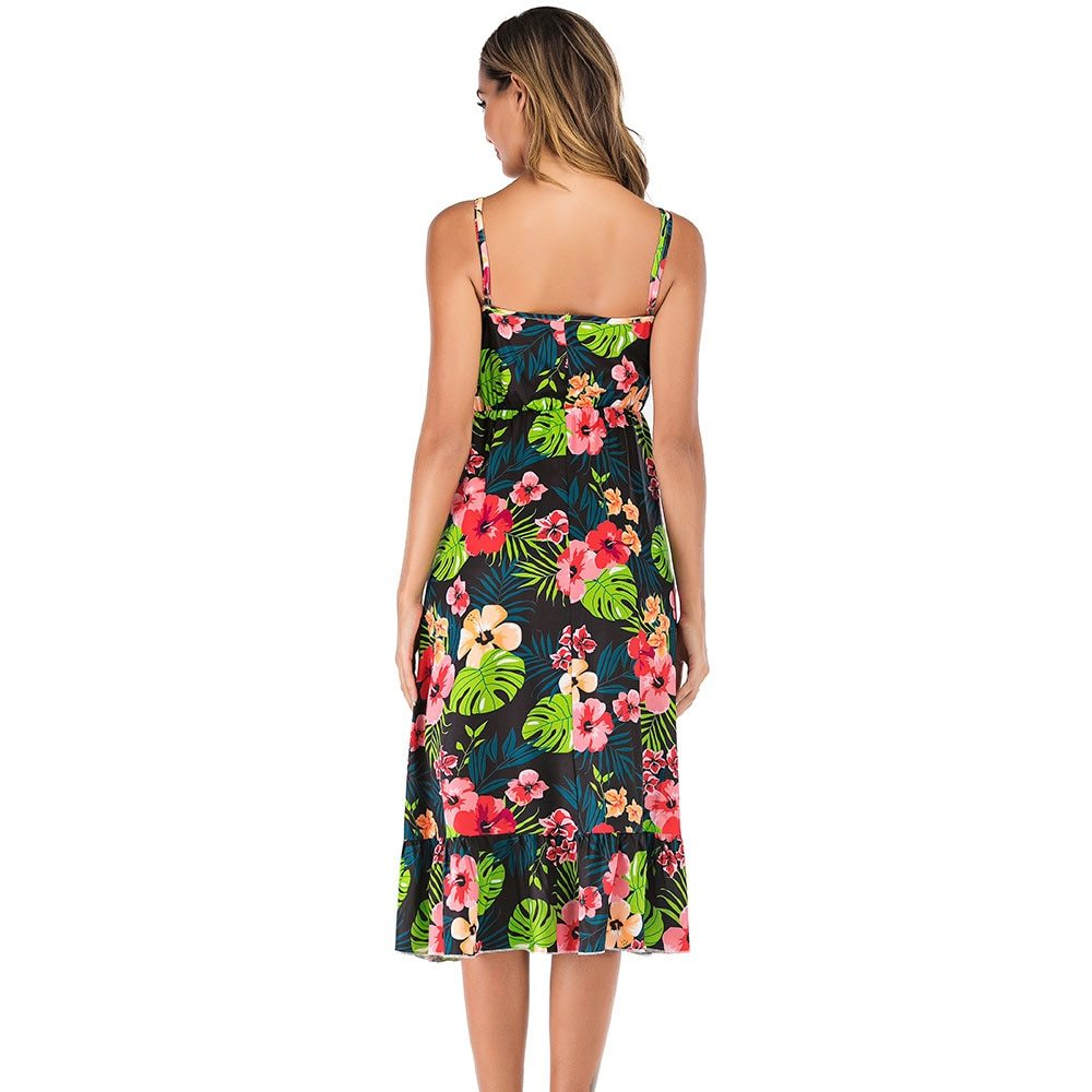 Maternity's Dress V Neck Floral Print Long Slip Dress image 4