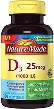 Nature Made Vitamin D3 25 mcg 1000 IU Softgels 300 Ct Mega Size Packagin... - $22.17