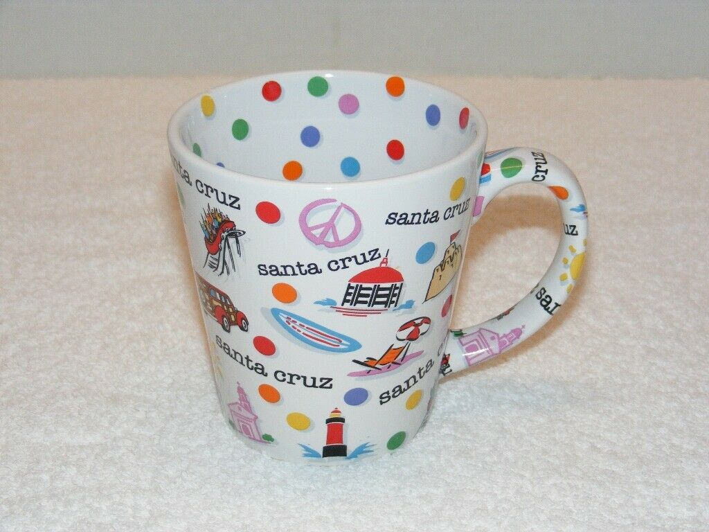 Primary image for SANTA CRUZ CA. SOUVENIR FUN CITY & BEACH IMAGES 12 oz COFFEE MUG (G17) GUC