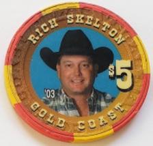 Las Vegas Rodeo Legend Rich Skelton '03 Gold Coast $5 Casino Poker Chip - $19.95