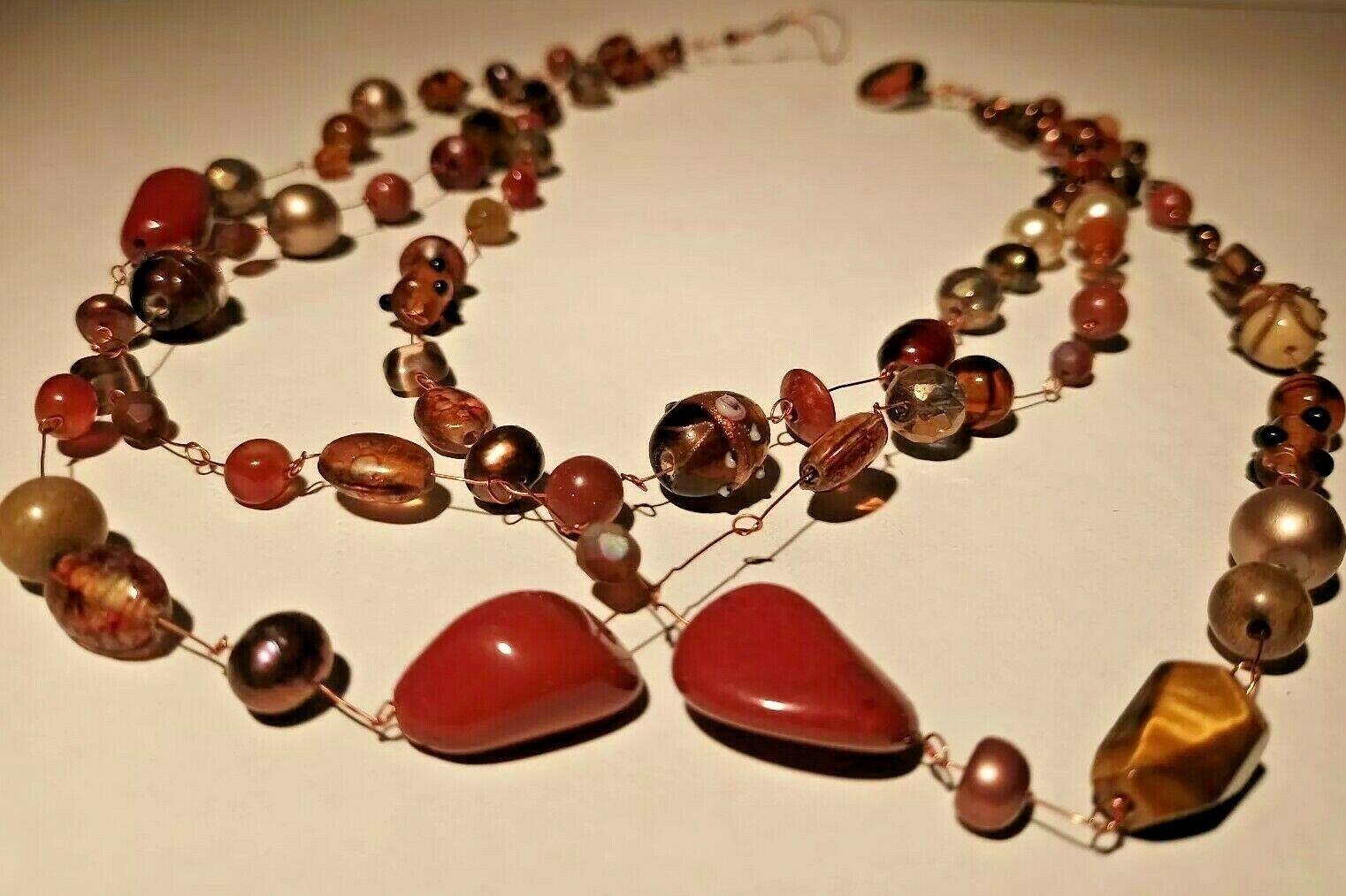 Unique 3 Strand Treasure Necklace w/ Pearls Stones Murano Glass and MUCH MORE! image 8
