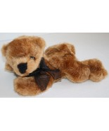 "Progressive Plush CASEY BEAR 10"" Brown Tan Lying Tummy Soft Toy Black No... - $15.45"