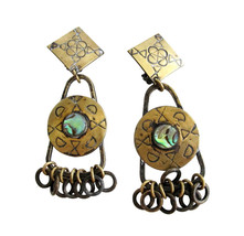 Vintage Marjorie Baer Brass with Paua Abalone Shell Dangle Drop Earring ... - $55.00