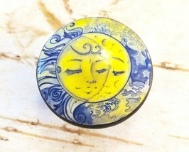 Sun and Moon Knob Drawer Pulls, Handcrafted Sun Cabinet knobs, Sun Face,... - $5.94