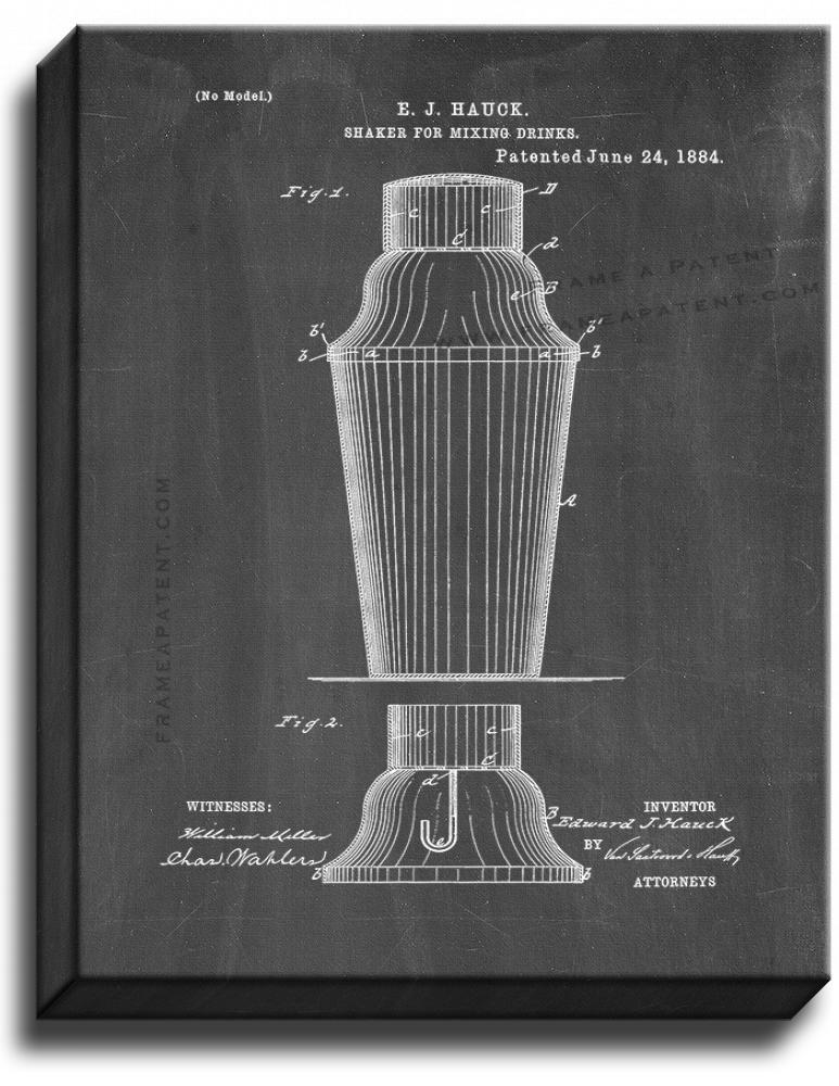Primary image for Shaker For Mixing Drinks Patent Print Chalkboard on Canvas