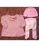 Girl's Size 3 M 0-3 Months 3 Piece Pink/ Brown Striped Carter's Dress & ... - $15.00