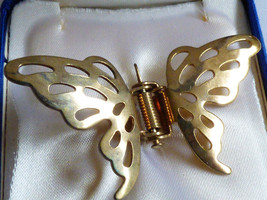 Gold tone metal Butterfly spring clip wings Brooch pin - $16.63
