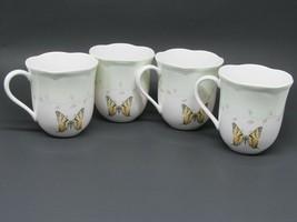 Lenox Butterfly Meadow Coffee Mugs Cups Light Green Band Bundle of 4 - 3... - $22.05