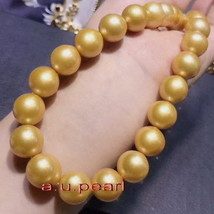 "AAAAA long 20""12-15mm Natural real south sea golden pearl necklace 14K gold - $1,839.09"