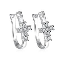 Swarovski Crystal Pave Cross Earring in White Gold Plated - $14.00
