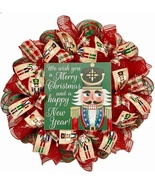 Nutcracker Christmas Wreath Handmade Deco Mesh - $92.99
