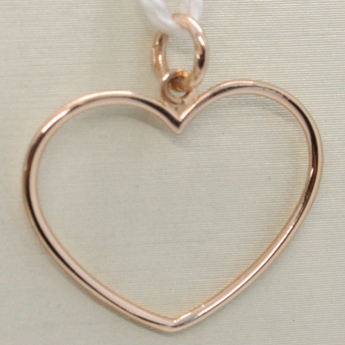 18K ROSE GOLD HEART PENDANT CHARM, 22 MM, LUMINOUS, BRIGHT, MADE IN ITALY