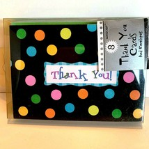 8 Polka Dots Thank You Cards with Envelopes Blank Inside - $10.64