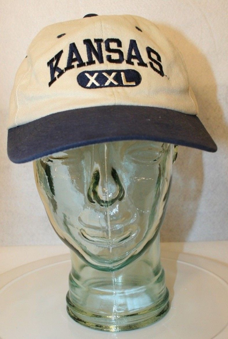 Primary image for Champion Apparel KANSAS XXL tan navy blue strapback Dad baseball-style cap hat