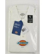 NWT! DICKIES YOUNG ADULT PIQUE POLO WHITE UNIFORM SHIRT S/S, LG, FASTSHI... - $7.92