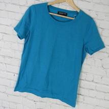 Jones New York Shirt Top Womens Medium M Teal Silk Blend Knit D36 - $23.17