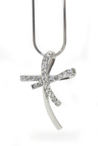 Girls Womens Clear Shimmering Crystal Silver Curved Cross Pendant Necklace - $18.95