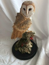Barn Owl on Post in Snow Figurine Statue Hand Painted / Crafted England - $89.09