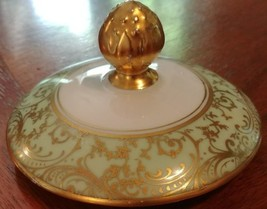 Hutschenreuther Green/Gold Filigree HUT1569 sugar Bowl lid - $18.33