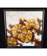 """Painting Abstract Flower Floral Mod Garret 25"""" Canvas Yellow Textured Vi... - $75.00"""