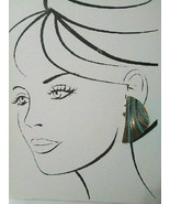 VINTAGE GOLDTONE EARRINGS TEXTURED 1/2 MOON BUTTONS W/ FACETTED TURQUOIS... - $65.00