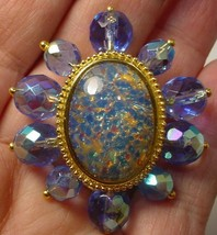 RARE JOAN RIVERS  Colors of Opal Blue FIRE POLISHED Brooch Pin - $39.58