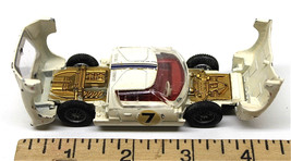 Vintage Dinky Toys Ford GT #7 Die Cast Racing Car Meccano White 1:43 Eng... - $25.23