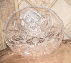 "Vintage HAND CUT  Crystal SERVING Cut Bowl SCALLOPED SAW TOOTH EDGE 9""W ... - $39.99"