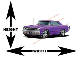 1969 Dodge Dart GTS Plum Crazy Purple Muscle Car Wall Art Decal - $42.00+