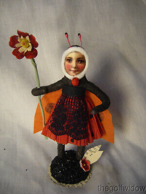 Antique Looking Spun Cotton Ornament Ladybug Girl no. E47 B