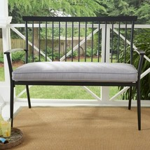 Metal Patio Bench Porch Deck Outdoor Furniture 2 Person Seating Gray Cus... - $149.59