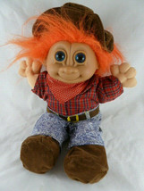 "Russ Troll Doll 12"" Soft Body Orange Hair  Blue Eyes Western Cowboy outfit - $18.80"