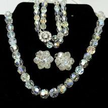 Bergere Crystal Glass Bead Necklace Bracelet & Earrings Set 1950s Vintage  - $54.45