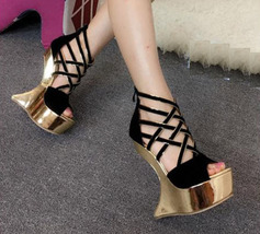 82s029 Cute crossed strap wedge sandals, nubuck leather, US Size 4-8.5, black  - $62.80