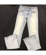 AE American Eagle Kick Boot Super Stretch Skinny Light Wash Jeans Womens 0 - $24.75