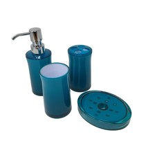 PLAIN CLEAR TEAL BLUE BATHROOM SOAP DISH DISPENSER TUMBLER & TOOTHBRUSH ... - $21.35