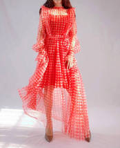 Red Long Tutu Dress Gowns Long Sleeve Vintage Inspired Pink Plaid Pattern image 7