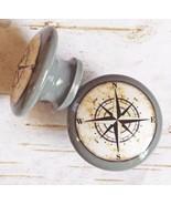 """Handmade Nautical Birch Wood Knob, Gray 1.5"""" Compass Drawer Pull, Cabine... - $5.89"""