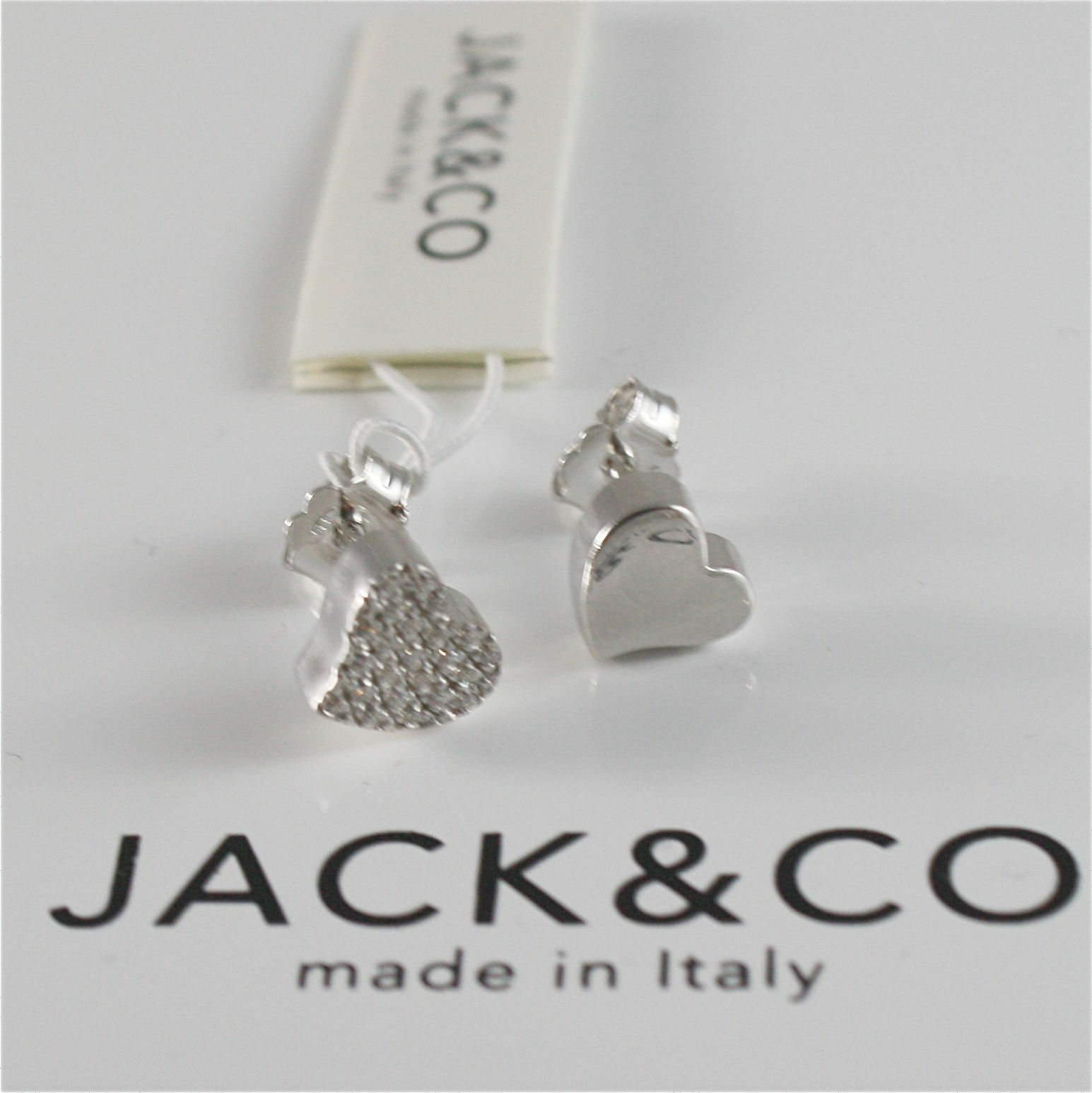 EARRINGS SILVER 925 JACK&CO WITH HEART LOVE WITH ZIRCON CUBIC JCE0454