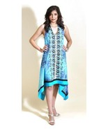 Ocean Water Turquoise Hand-Embroidered Hankie Dress by Ruby B/Silk Threa... - $51.90
