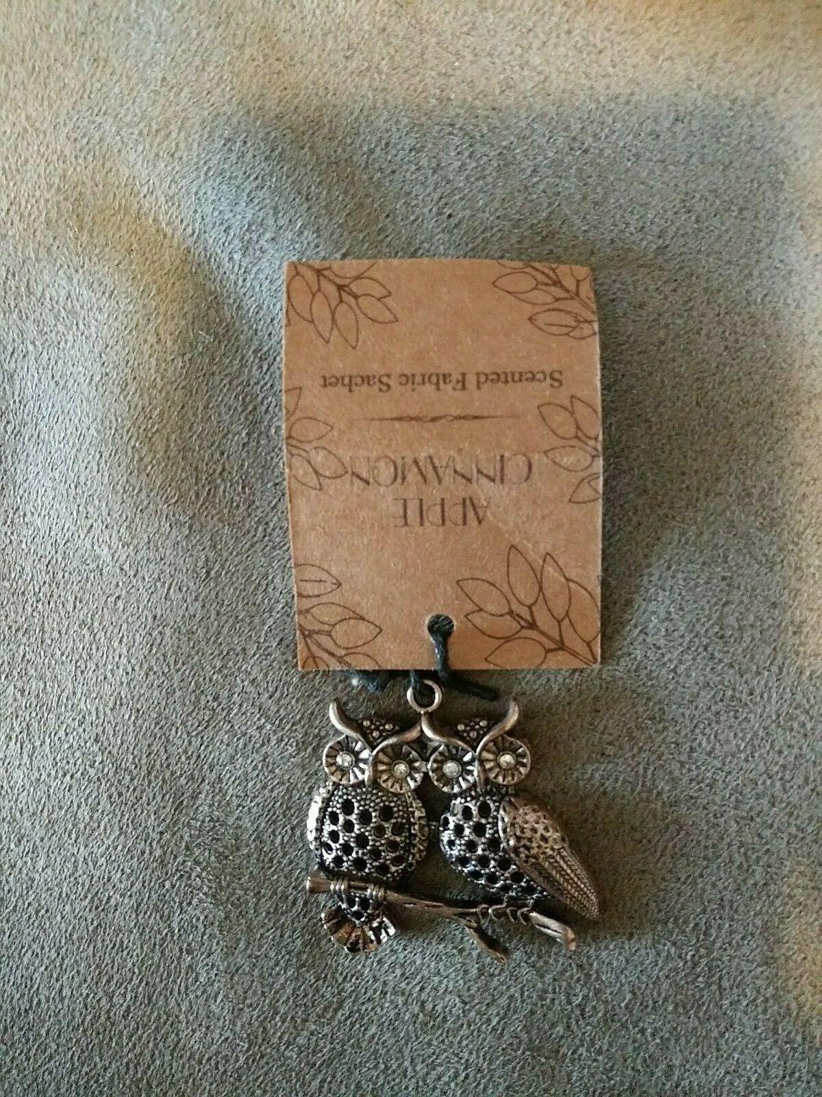 Owls apple cinnamon scented fabric sachet usefor necklace pendant Keychain charm