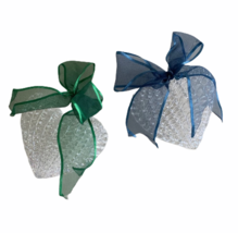 Two Heart Shaped Woven Ornaments Hard Plastic with Bows Boxes Included - $18.49