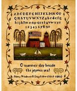 Summer Time Folk Art Sampler Print Ready-to-Frame - $4.75