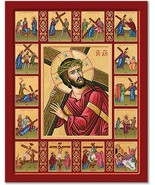 "Stations of the Cross Story Icon 11"" x 14"" Wooden Plaques With Lumina Gold - $81.95"