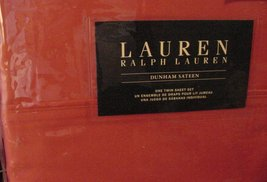 Ralph Lauren Dunham Poppy Coral Orange Sheet Set Twin - $79.00