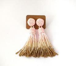 Beaded pink ombre tassel long fringe statement dangle earrings - $28.00+