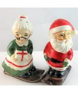 Santa mrs claus skis christmas salt pepper shaker set 1 thumbtall