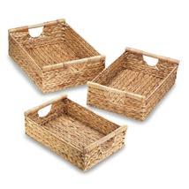 3 Nesting Storage Baskets Braided Water Hyacinth Straw w/ Dowel Handles - $43.95